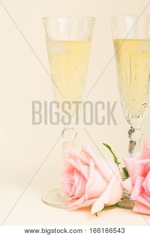 Pink blooming fresh valentines day roses on wood with two glasses of cold champagne