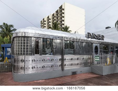 Facade Of Vintage Fast Food Restaurant The Diner In Miami, Usa