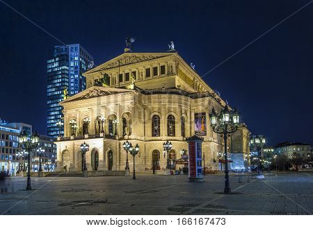 Alte Oper At Night  In Frankfurt
