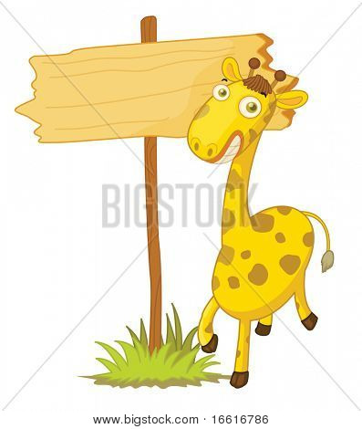 an illustration of a giraffee infront of a blank sign