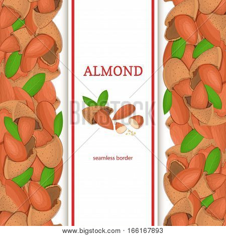 Almond nut vertical seamless border. Vector illustration with composition of a delicious almonds nuts fruit in the shell whole shelled leaves appetizing looking for packaging design healthy food