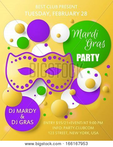 Mardi gras background. Template for poster. Carnival mask with beads. Vector illustration.