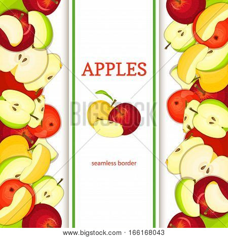 Apple vertical seamless border. Vector illustration fruit coposition Yellow red and green apples fruits whole and slice appetizing looking for packaging design of juice breakfast, healthy eating
