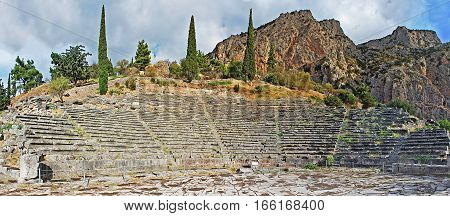 Ancient theater in Delphi, Greece in a summer day