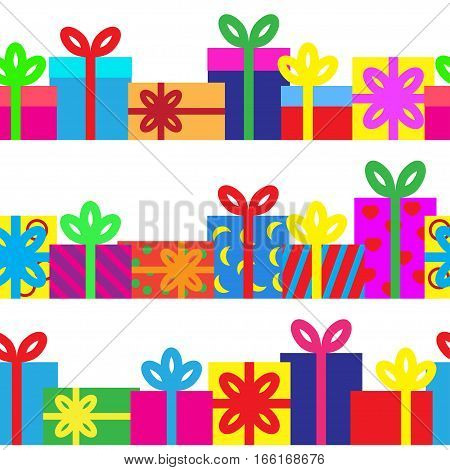 Set of seamless series of gift boxes. Vector illustration.