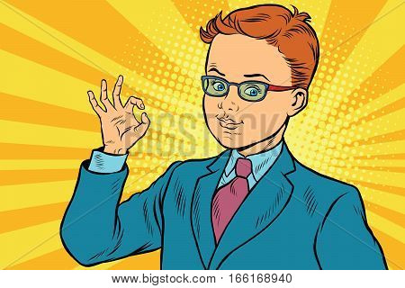 Boy OK gesture. Pop art retro vector illustration