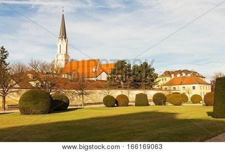 The Catholic parish church Maria Hietzing view from the Schonbrunn garden Vienna Austria.