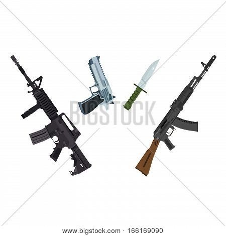 a set of well-known firearms and bladed weapons from different countries