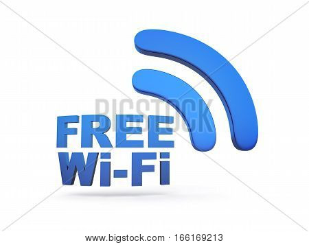Abstract free Wi-fi on white background. 3d illustration