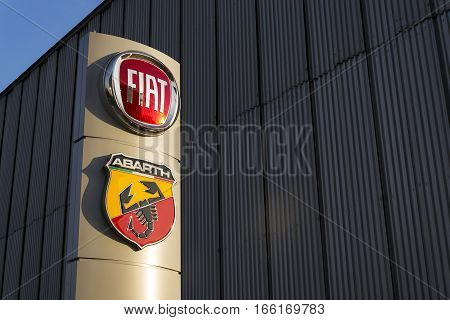 Prague, Czech Republic - January 20: Fiat And Abarth Company Logo On Dealership Building On January