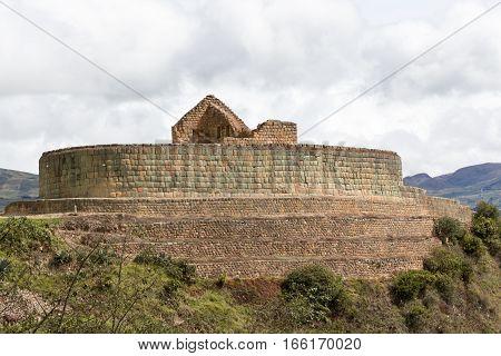Ingapirca inka ruins main temple closeup detail in Ecuador