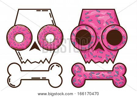edible skull. candy and death. skull with donuts. Gingerbread skull. festive cakes for Halloween. pink skull
