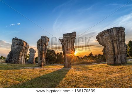 Mor Hin Khao (Thailand Stonehenge) sunrise landscape Chaiyaphum Thailand