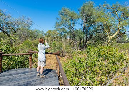 Tourist Looking At Panorama With Binocular From Viewpoint Over The Olifants River, Scenic And Colorf