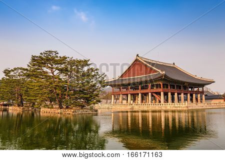 Gyeonghoeru Pavilion at Gyeongbokgung Palace Seoul South Korea