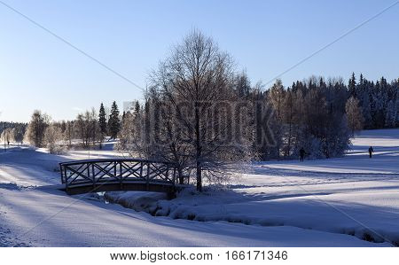 Wooden bridge in bright sunshine, winter and snow. Brook, creek surrounded of deep snow. Backlight.
