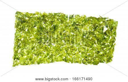 Fried seaweed emerald green on white background.