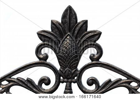 Decoration made of cast iron isolated on a white background. Ideal for decorations, photo montage for the collection.