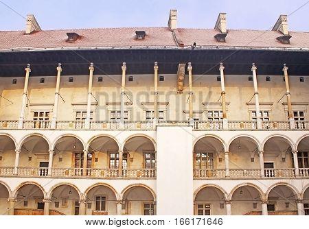 Inside Wawel castle in Krakow. Poland in the winter
