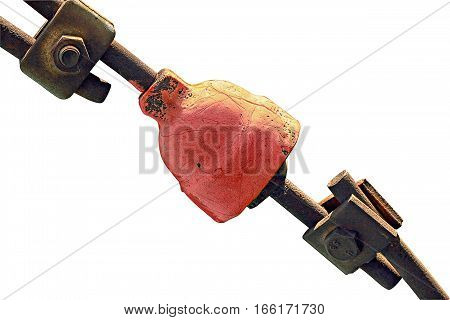 The red metal part rusty. Isolated on a white background. Use for photomontage, as an illustration.