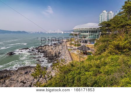 Busan city skyline and coast, Busan, South Korea