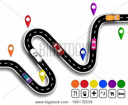 Winding road with signs. The movement of cars. The path specifies the navigator. Vector illustration