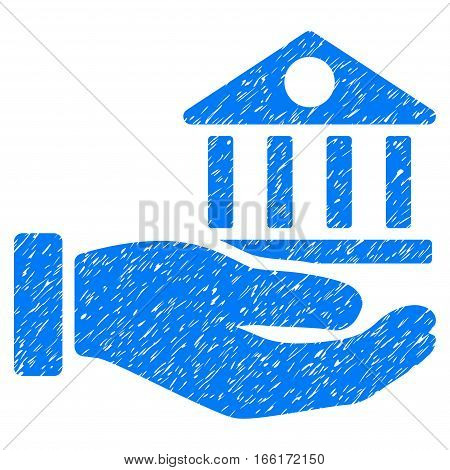 Bank Building Service Hand grainy textured icon for overlay watermark stamps. Flat symbol with scratched texture. Dotted vector blue ink rubber seal stamp with grunge design on a white background.