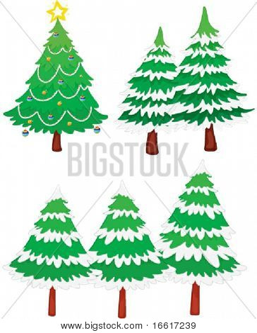 an illustration of six christmas trees