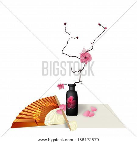 Ikebana. Composition. Figure Sakura flower. Fan. Isolated on white background with shadow. vector illustration