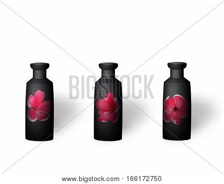 Flower vases, ikebana. With a picture of sakura flowers. Isolated on white background with shadow. Vector illustration