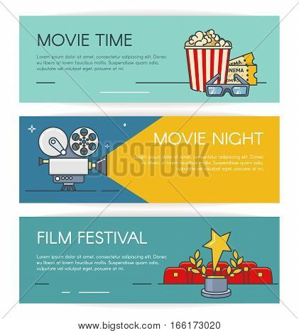 Cinema horizontal banners set with popcorn, retro camera, festival award.