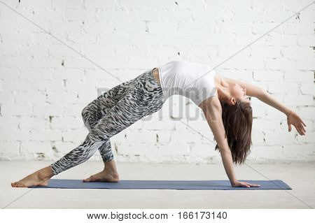 Young attractive woman practicing yoga, doing Wild Thing, Flip-the-Dog exercise, Camatkarasana pose, working out wearing sportswear, top and pants, indoor full length, white loft studio background