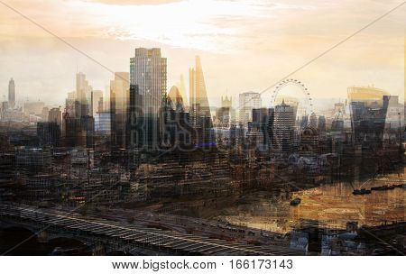 City of London multiple  exposure image includes skyscrapers of business district and River  Thames at sunset. UK