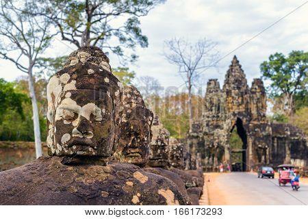 South gate of Angkor Thom Siem Reap Cambodia