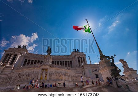ROME ITALY - September 13 2016: View on the National Monument to Victor Emmanuel II - first king of a unified Italy in Rome in Piazza Venezia