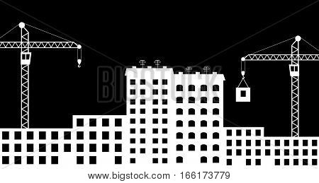 Vector illustration of silhouette the construction of city