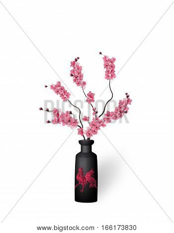 Ikebana. Composition. Figure branches Sakura flower. On a white background with shadow. vector illustration