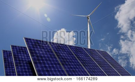 Solar panels and a wind turbine in front of blue cloudy sky with bright sun green energy concept 3D illustration