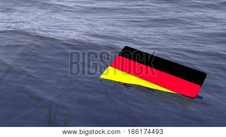 German flag drowning in the ocean Germany crisis concept 3D illustration