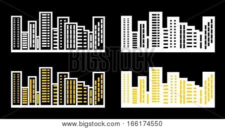 Silhouettes the cityscapes on a bleck background. Vector illustration.