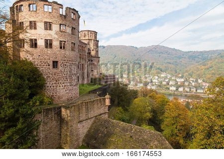 Ancient medieval castle - fort (Heidelberger Schloss). Ruins of round tower with empty windows. Heidelberg. Germany. Famous tourist destination