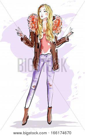 cute blonde hair girl vector photo free trial bigstock