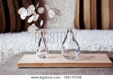 Glass Vase On A Wooden Stand
