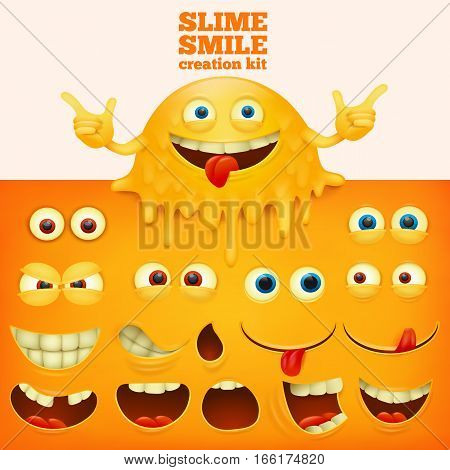 Slime yellow smiley face creative kit. Vector illustration
