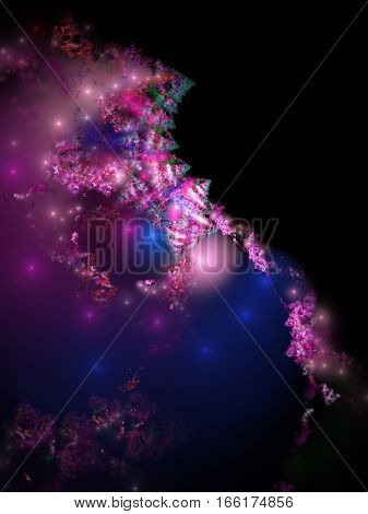 Abstract Glossy Shapes In Purple, Blue And Pink Colors. Fantasy Fractal Background. Digital Art. 3D