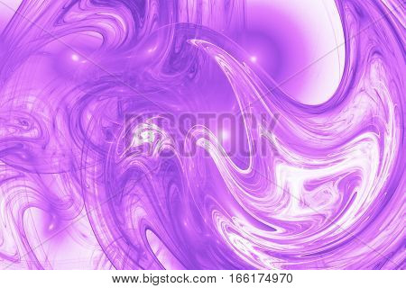 Abstract Purple Swirly Shapes. Fantasy Fractal Background. Digital Art. 3D Rendering.