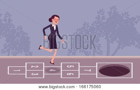Young carefree businesswoman playing hopscotch, jumping unaware of hole in front of her, danger zone, lack of knowlage, start-up growth phase leading to the end, falling into the pit