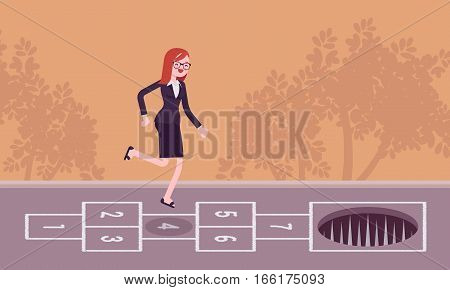 Young carefree businesswoman playing hopscotch, jumping unaware of danger in front of her, making fatal mistake, unable to avoid the end, loosing a game, unseen distain problem