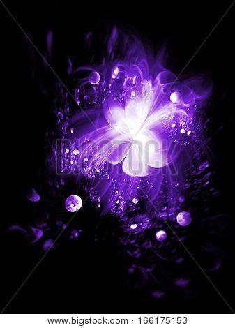 Abstract Exotic Flower On Black Background. Fantasy Fractal Background. Digital Artwork In Purple Co
