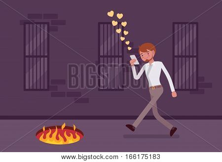 Young carefree happy man walking down the street, looking at the screen of his phone, sending likes, unaware of pit with fire in front, getting hurt while texting, mobile distraction, unseen path